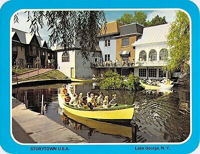 postcard 5.25x6.75 Amusement Park STORYTOWN USA ~Swan Boat Ride~Lake George, NY