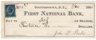 1881 FIRST NATIONAL BANK ANN ARBOR MICHIGAN w// IRS 2¢ PRINTED STAMP