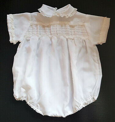 VINTAGE 1950's BABY ROMPER, WHITE w LACE DETAIL, FINE FABRIC - SMOCKING DETAIL