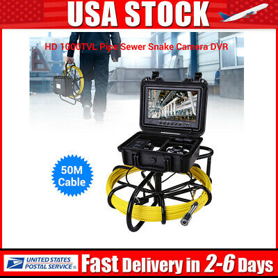 9Inch 50M Drain Endoscope Inspection Cleaner φ23mm IP68 Sewer Camera Video 8GB