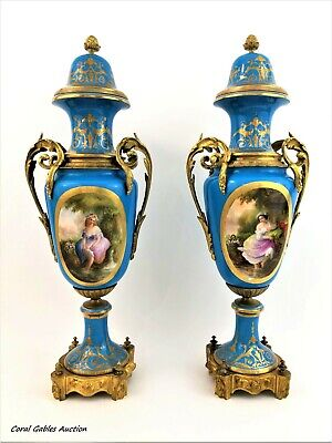 Antique pair of blue sevres of the 19th century