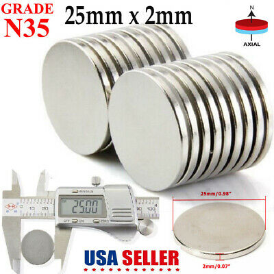 Lot 10 20 50 N35 Super Strong Round 25mm x 2mm Disc Rare Earth Neodymium Magnets