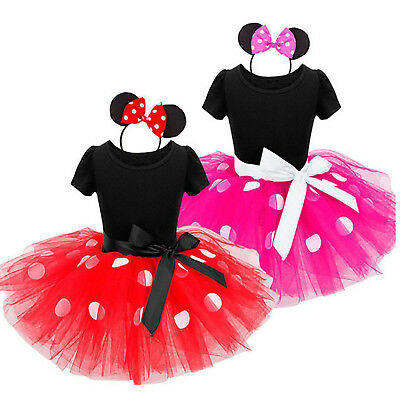 Baby Kids Girls Minnie Mouse Party Princess Costume Ballet Tutu Dress + Headband