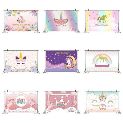 5*3ft Unicorn Kid Birthday Photo Party Backdrop Photography Background Prop Nice