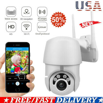 Waterproof Outdoor WiFi PTZ Pan Tilt 1080P HD Security IP IR Camera Night Vision