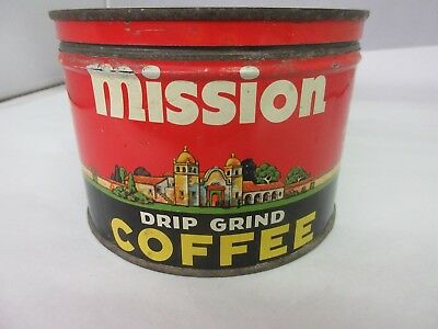 Vintage Mission Coffee With Original Lid  Advertising Collectible  425-Z