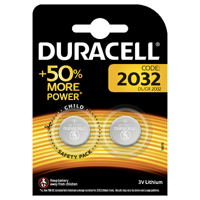 2 x Duracell CR2032 3V Lithium Coin Cell Battery 2032, DL2032, BR2032 for Keyfob