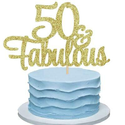 50 & FABULOUS Cake Topper for 50th Birthday Party (Rose Gold