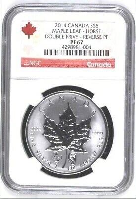 Rare - 2014 Canada $5 1oz Chinese Double Horse Privy Maple Leaf Reverse Proof