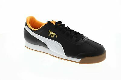 Puma Roma Basic Mens Black Leather Low Top Lace Up Sneakers Shoes