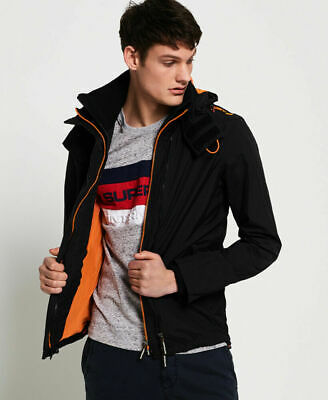New Mens Superdry Hooded Technical Pop Zip Sd-Windcheater Jacket Black