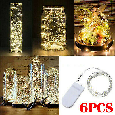 6Pcs 5M 50LED Battery Micro Rice Wire Copper Fairy String Lights Party 5M LO