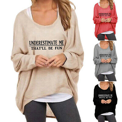 UK Womens Long Sleeve Pullover T-shirt Ladies Loose Casual Tops Jumper Plus Size