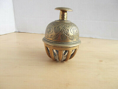 Vintage Indian Bell Etched Brass Elephant Claw
