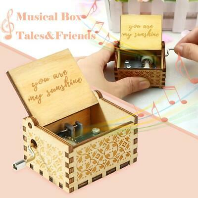 Antique Wood Music Box Hand Cranked Musical Case Home Retro Ornament Gifts AU