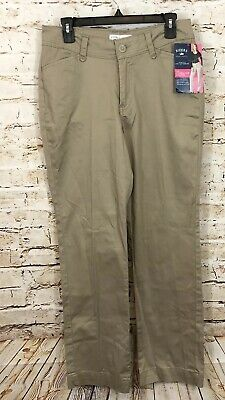 Lee Riders pants womens 12 khaki beige straight leg for curvy shapes new P5