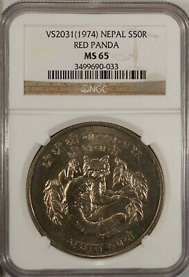 Nepal 50 Rupee 1974 NGC MS 65 UNC Silver Red Panda High Grade