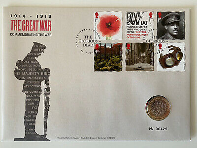 2018 WW1 Armistice £2 Coin BU Uncirculated FDC Royal Mint Stamp Cover
