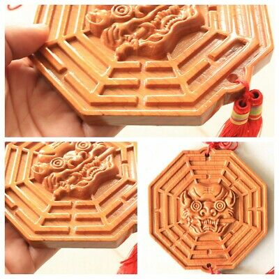 Chinese Mahogany Tiger Head Feng Shui Bagua Mirror Lucky Blessing House Protect