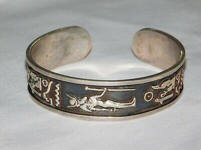 Hand Made Egyptian 925 Stamped Solid Silver Bracelet Cuff 40.78 gram