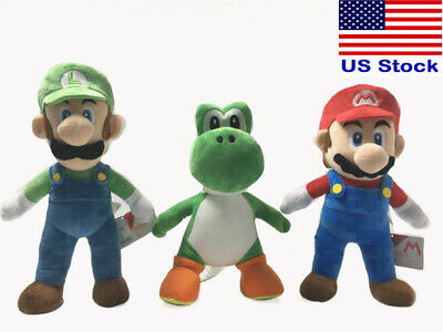 New Big Super Mario Bros. Mario & Luigi &Yoshi Plush Doll Toy 10'' Jumbo Teddy