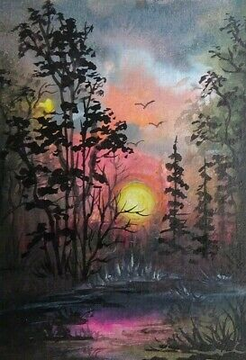Moonlit Wildness - Original 100% Hand Painted Aceo Acrylic Painting Canvas Art