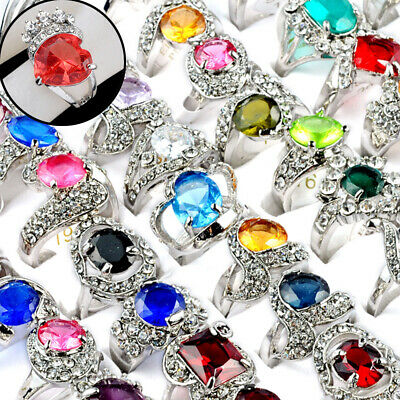 Wholesale Mixed Lot Natural Stone Silver Plated Rings Women Zircon Ring Jewelry