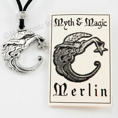 Merlin Wizard Holding Gazing Ball Silver Finish Pewter Pendant Necklace NK-398