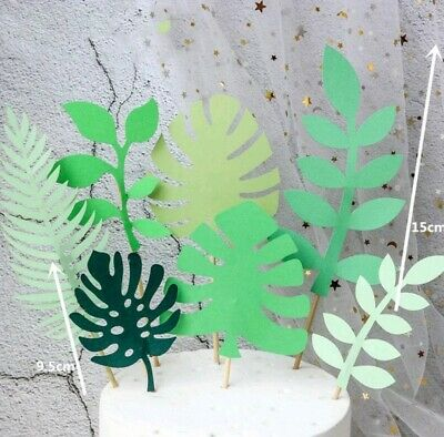 7pcs Nature Green Plant Jungle Hawaian Party Leave Tree cake cupcake toppers