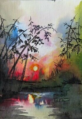 Morning Sunrise - Original Aceo  Acrylic Watercolor  Landscape Painting  Signed