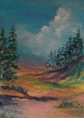 Original Aceo Watercolor Landscape Painting Signed Art Card