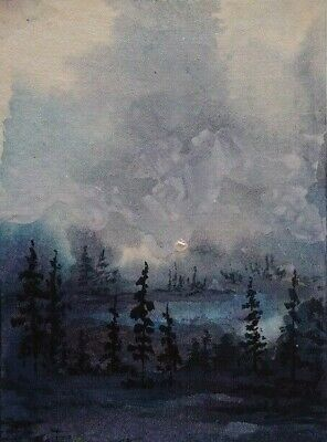 Stormy Night -Original Aceo  Watercolor  Acrylic Landscape Painting Canvas Card