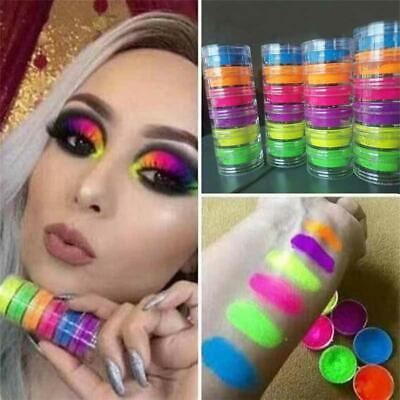 6 Colors/Kit Neon Powder Eyeshadow Pigment Matte Mineral Spangle Nail Powder