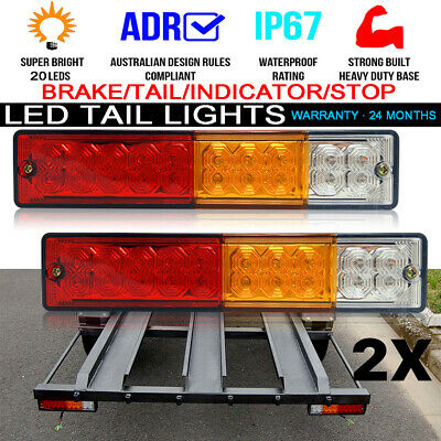 2x 12/24V TRAILER LIGHTS 20 LED STOP TAIL INDICATOR REFLECTOR TRUCK CAMPER LIGHT