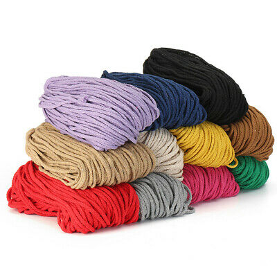 5mm 100m Natural Cotton String Twisted Cord Craft Macrame Artisan Rope Craft