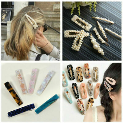 Women Vintage Leopard Hair Clip Hair Pin Bobby Comb Barrette Acetate Pearls New