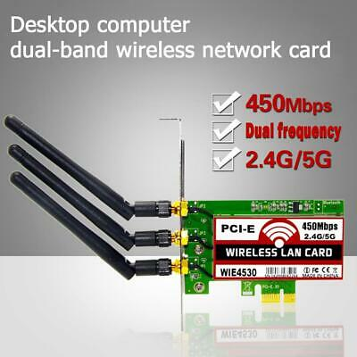 Hot 450Mbps 2.4G/5G Wireless WiFi LAN Card PCI-E Network Adapter for PC Desktop