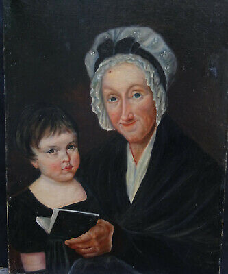 Portrait of Woman and Child Style Empire Hst School French of 19th Century