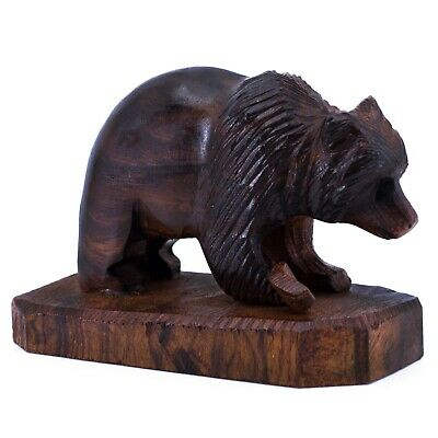"""Unique Hand Carved Ironwood Bear With Fish Figurine Wood Carving 4.25"""" Long"""
