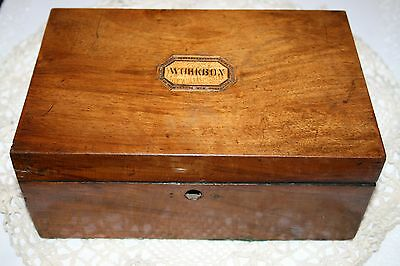Antique Victorian Mahogany Wood Work Box Marquetry Tunbridge Ware Sewing Wooden
