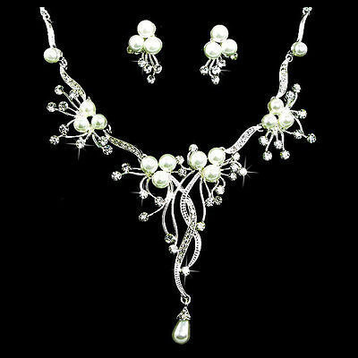 Bridal Wedding Jewelry Set Rhinestone Pearl Floral Vine Design Necklace Earrings