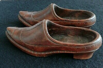 Pair Of Antique Georgian Victorian Miniature Carved Wooden Shoes.