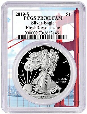2019 S 1oz Silver Eagle Proof PCGS PR70 - First Day Issue Golden Gate - PRESALE