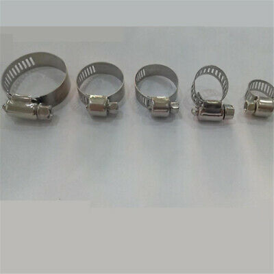 5Pc Stainless Steel Jubilee Type Hose Clips Air Line Fuel Pipe Worm Drive Clamps