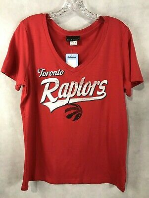 Toronto Raptors Women's Top NEW Red V Neck Short Sleeve T-Shirt NBA Store NWT LG
