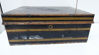 Antique Metal Cash Box Strong Deed Box Safe Brass Lock Heavy Duty Security Trunk