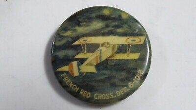 Antique French Red Cross Dec 6 1918 Day Badge Pin Button Bi Plane