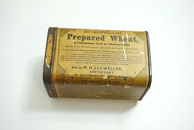 Antique 1870'S Dated Hubbell's Prepared Wheat Tin Litho In Nice Condition