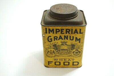 Antique Late 1800'S Imperial Granum Wheat Food Tin With Paper Label Feels Full