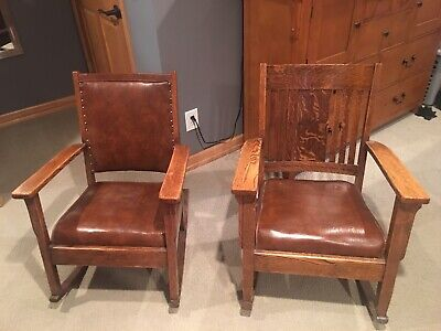 1910 Antique Mission Oak Rocking Chair Set (King + Queen) 109 YEARS OLD